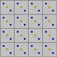 Squares with yellow and blue dots