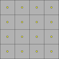 Squares with yellow dots