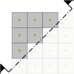 Squares with yellow dots, halved